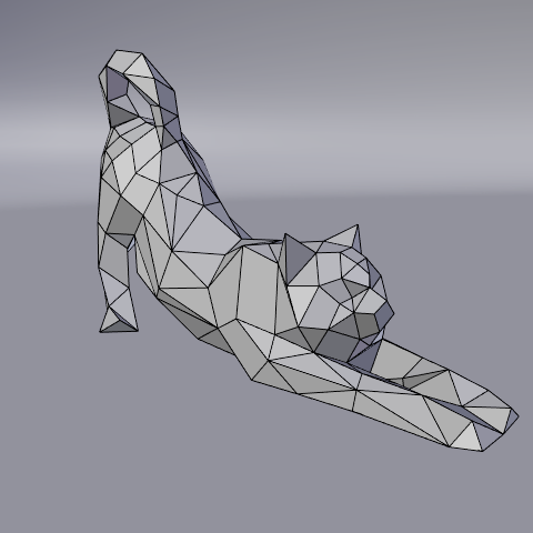 04.png Download free STL file Stretching cat low poly • Design to 3D print, Vincent6m