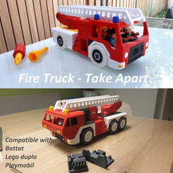 FIRE_TRUCK_txt.png Download STL file Fire truck - Take apart (RELOADED) • 3D print template, edge