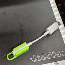 Impresiones 3D gratis Llavero Dongle Dangler para el adaptador USB-C a 3.5mm de Google, Chaco