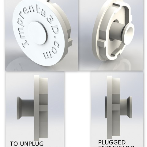 Download free STL file Plug Cover with hidden handle - Plug cap with concealed handle • Template to 3D print, Imprenta3D