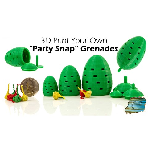 "Free 3D printer files ""Party Snap"" Grenade, dacinator"