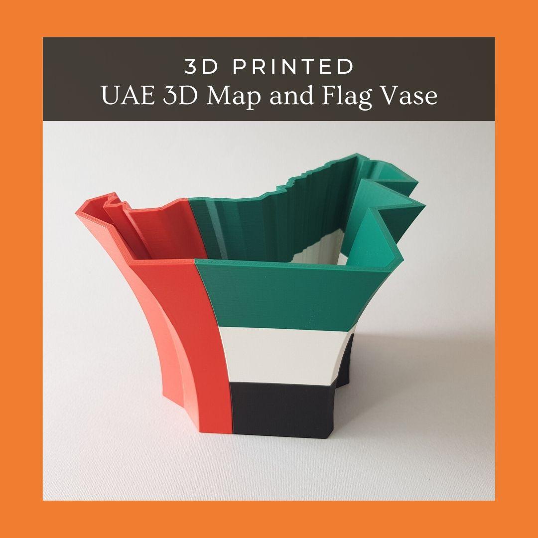 UAE 3D Map and Flag Vase 02.jpg Download STL file UAE 3D Map and Flag Vase • 3D printable design, ARCH-GRAPHIC