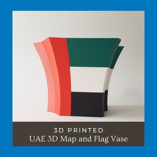 UAE 3D Map and Flag Vase 01.jpg Download STL file UAE 3D Map and Flag Vase • 3D printable design, ARCH-GRAPHIC
