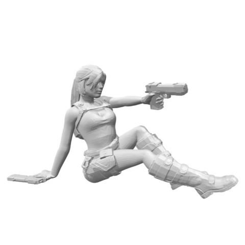 Download STL file Lara Croft shooting, sitting, Adonfff