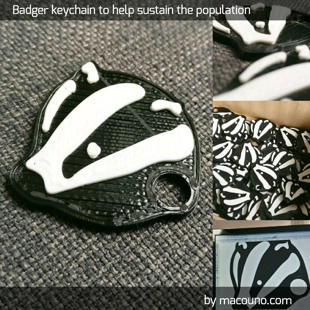 tempImage.jpg Download free STL file Badger keychain • 3D printing object, macouno