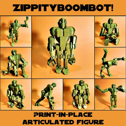 Free STL Print-in-place articulated figure: Zippityboombot!, Zippityboomba