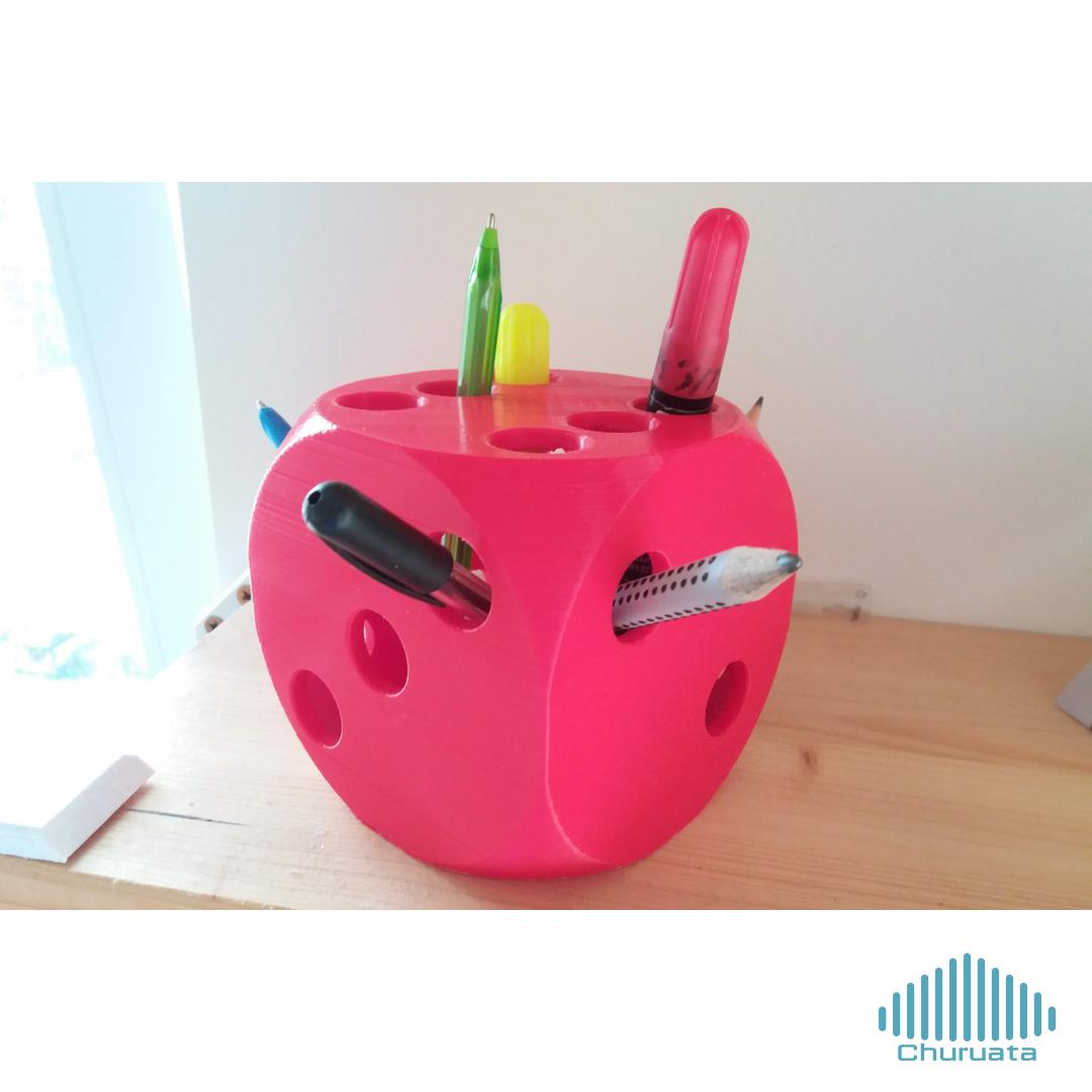 1.png Download free STL file Dice Pencil Holder • 3D printer design, Churuata3D