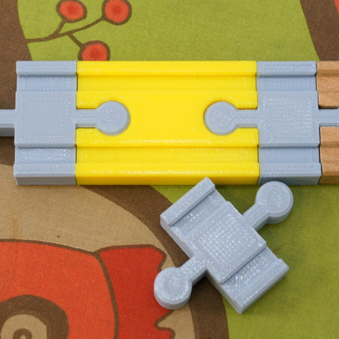 Download free 3D model  Toy Wood Train Track - Double Connector Shorter - rmx, MixedGears