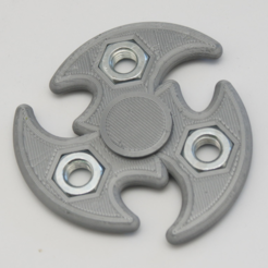 Free Tri Shuriken Spinner with M10 Hex Nuts 3D model, MixedGears