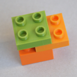 Free 3d printer designs LEGO DUPLO - Compatible Brick 2x2 - 1/2 height, MixedGears