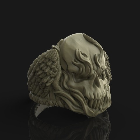 Download STL file Winged Fire Skull Ring • 3D print object, Nello