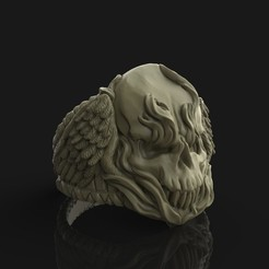 3d printer designs Winged Fire Skull Ring, Nello