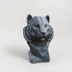 Download 3D printing templates Tiger Bust sculpture, Nello
