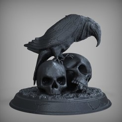 fa706449c94a0672777280ed9d20131e_preview_featured.jpg Download free STL file Raven with Skulls • Template to 3D print, Nello