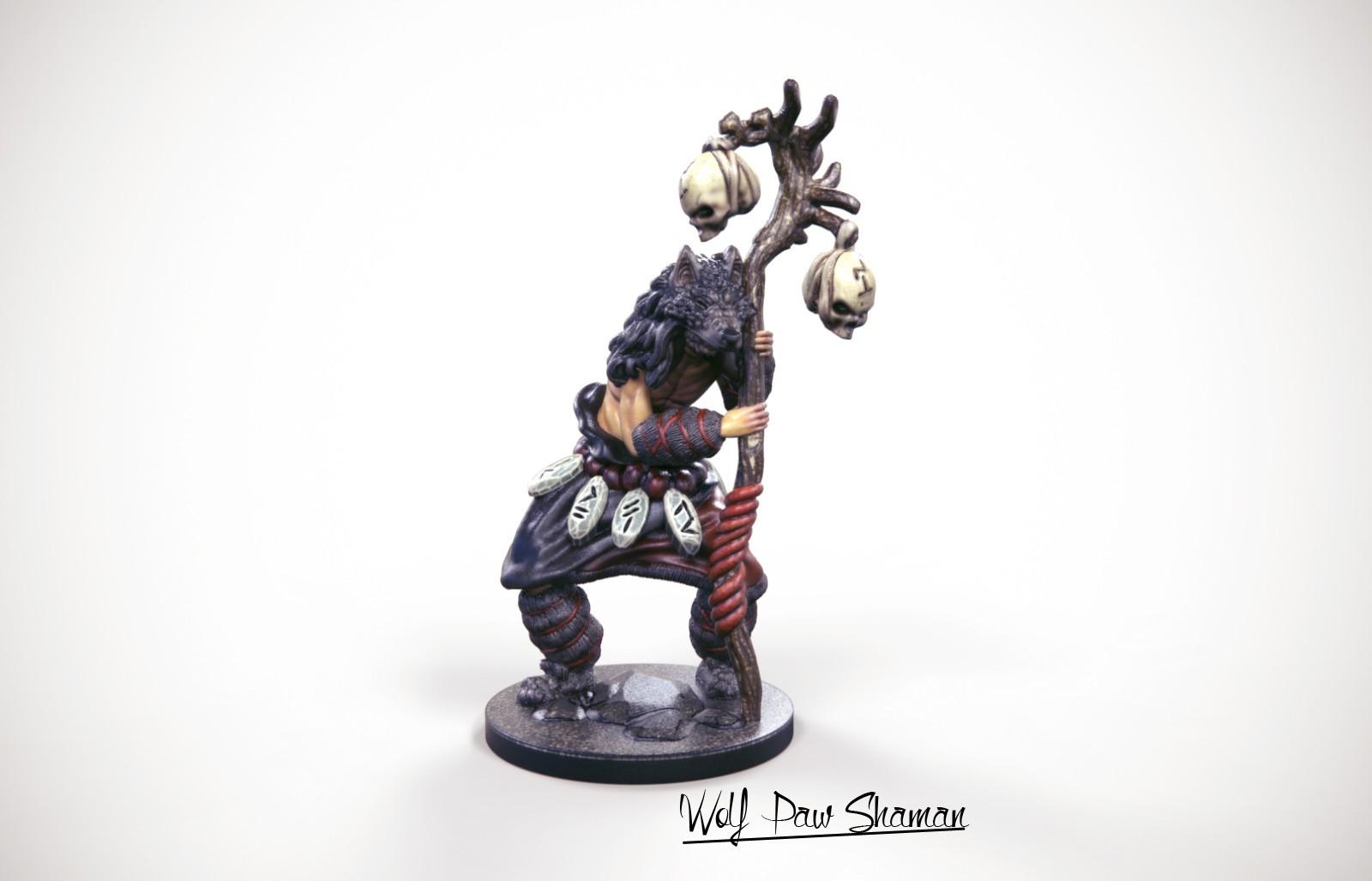 32mm miniature Wolf Paw Shaman