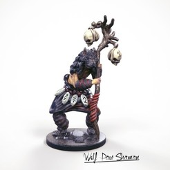 3D print model 32mm miniature Wolf Paw Shaman, Nello