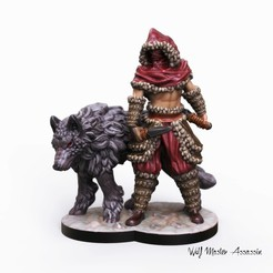 Download 3D print files 32mm miniature Wolf assassin, Nello