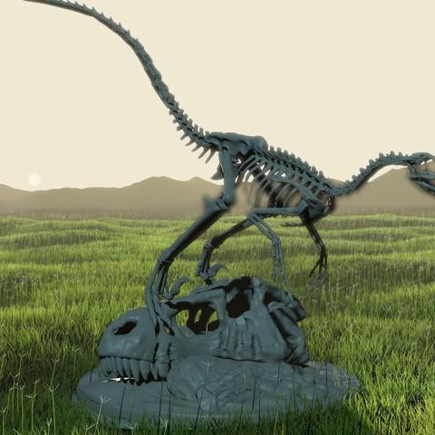 Descargar STL Diorama del esqueleto del velociraptor con cráneo T-Rex, LordLilapause