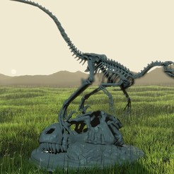 Download STL files Velociraptor Skeleton Diorama with T-Rex Skull, LordLilapause