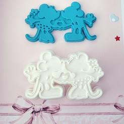 Descargar modelo 3D cortador de galletas Mickey y Minnie el día de San Valentín, kikenana