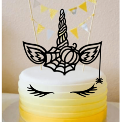 halloween unicorn.png Download STL file Topper Cake Unicorn Halloween • 3D printable model, kikenana