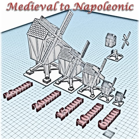 Windmill - Medieval to Napoleonic.jpg Download STL file Windmill - Medieval Wargame in Napoleon • 3D print object, Eskice