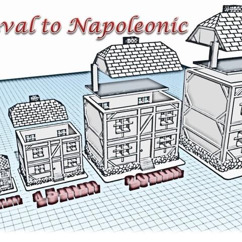 House 4 - Medieval to Napoleonic.jpg Download STL file House 4 - Medieval Wargame at Napoleon • 3D printer model, Eskice