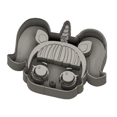 Download 3D printer model LoL Dolls Surprise - Unicorn Cookie Cutter, jdallasta