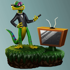 GEX RENDER2.png Download STL file Gex The Gecko • Template to 3D print, Giovani_Martani