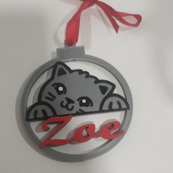 Bola cara de gato multicolor.jpg Download STL file Christmas ball christmas cat face multicolor design • 3D printing model, regata3dprint