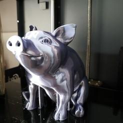 Download 3D printer files Piggy Sitting: Piggy Bank Version, choschiba