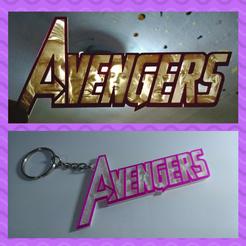 3D printing model keychain Avengers + logo, 3dlito