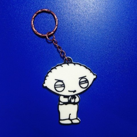Free Key ring Stewie Griffin STL file, 3dlito