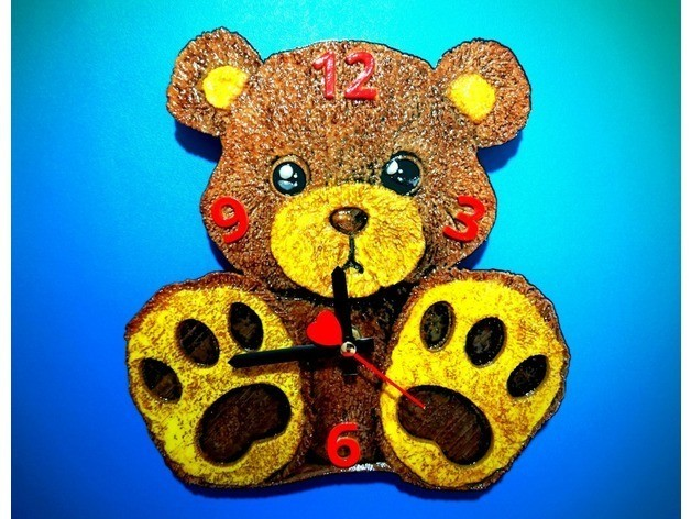 717ef5eb4dde22e398f04025f0332f91_preview_featured.jpg Download free STL file Teddy Bear Clock TED • 3D printable template, 3dlito