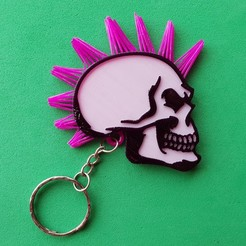 Free 3D printer designs Skull keychain with hair, 3dlito