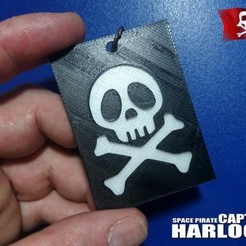 Free 3D printer designs Key ring captain harlock 2, 3dlito