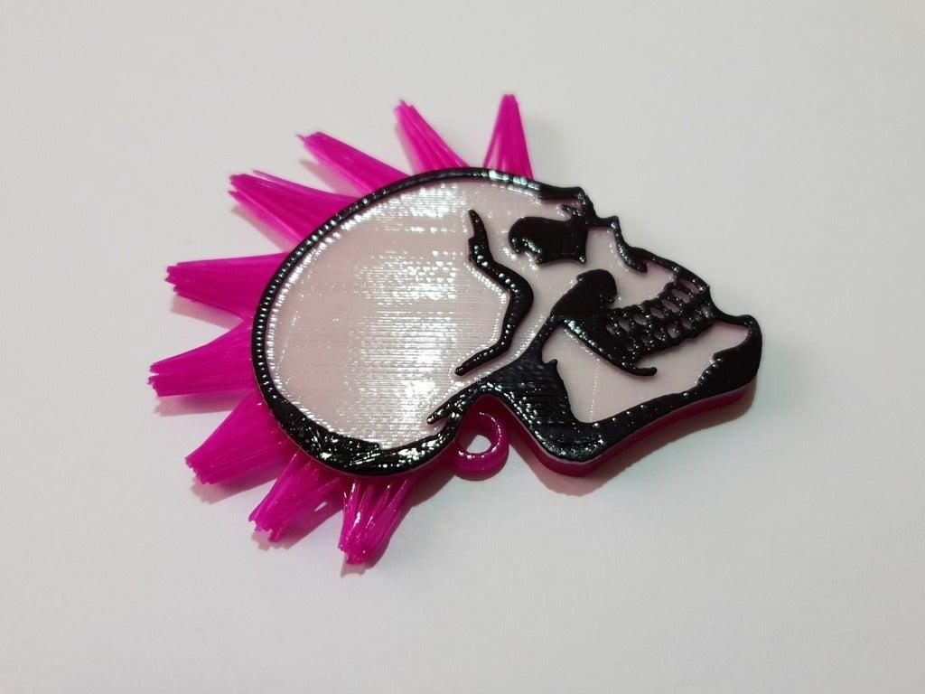 9936045daa29a0b4ebda5b25e7fffb91_display_large.jpg Télécharger fichier STL gratuit Porte-clés tête de mort avec cheveux • Modèle pour imprimante 3D, 3dlito
