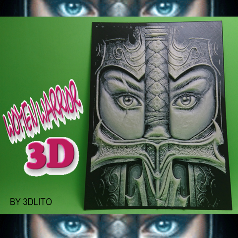 Free STL DRAWING 3D WARRIOR WOMAN, 3dlito