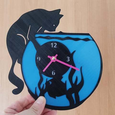 Download free STL files reloj pecera gato, 3dlito