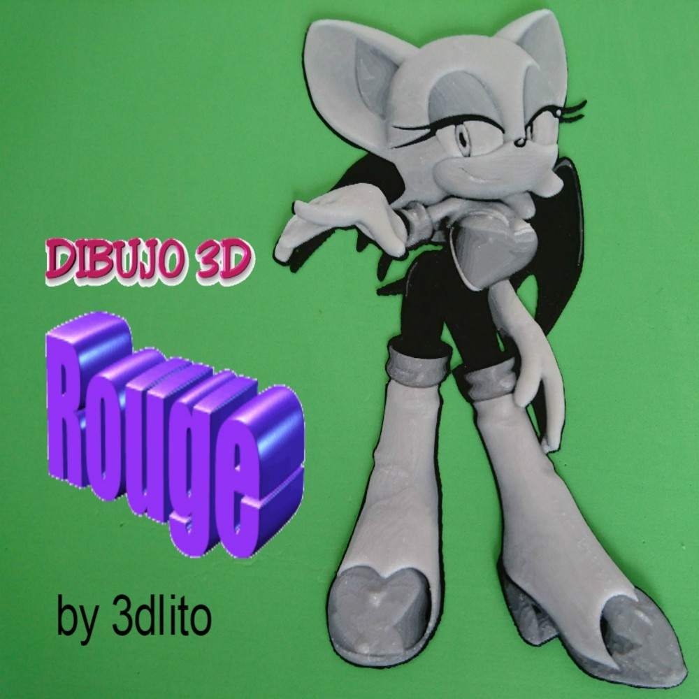 rougedibujo.jpg Download free STL file Drawing / Drawing 3D Rouge (sonic) • 3D printable template, 3dlito
