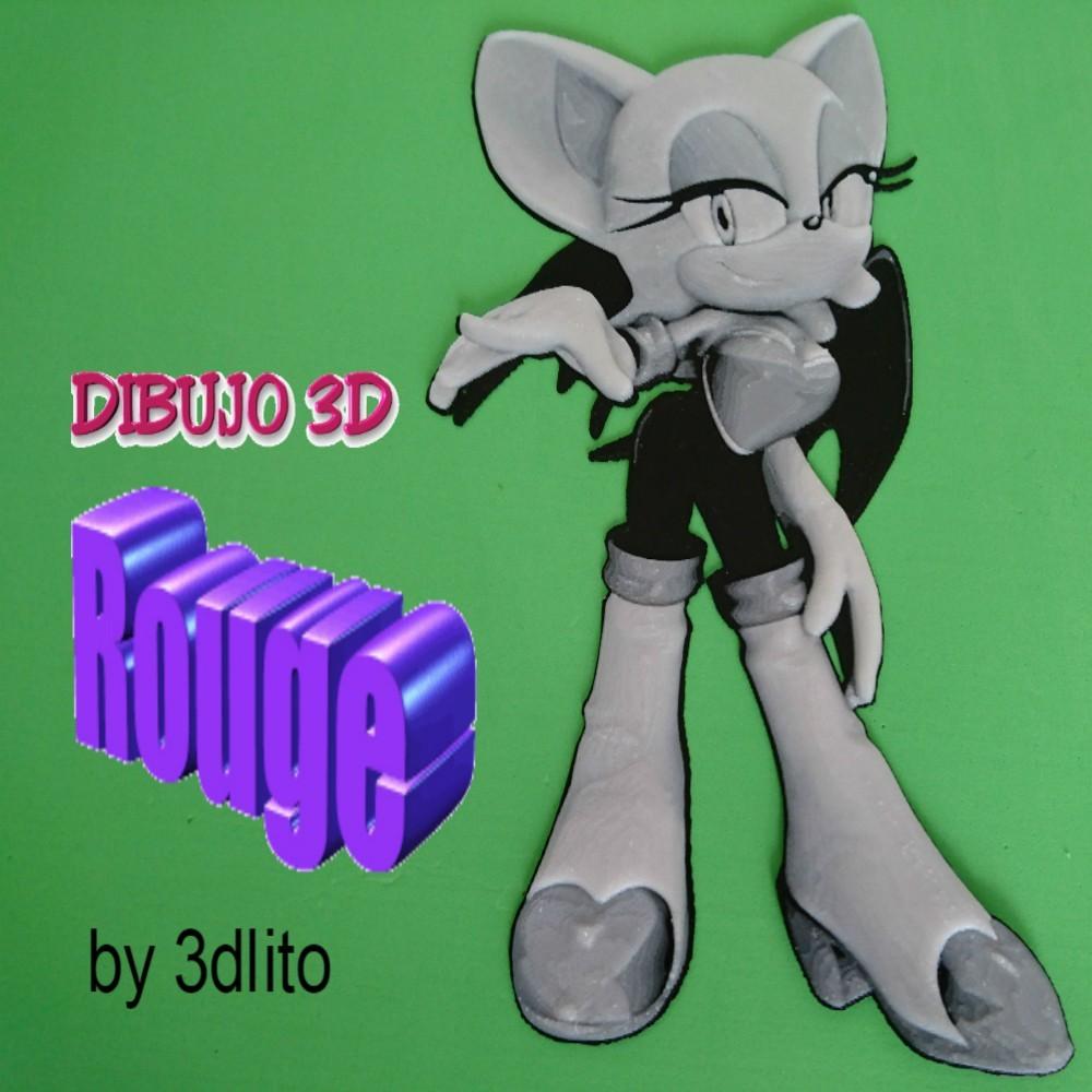 rougedibujo.jpg Télécharger fichier STL gratuit Dessin / Dessin 3D Rouge (sonique) • Plan pour imprimante 3D, 3dlito