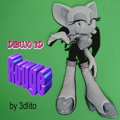 Download free STL file Drawing / Drawing 3D Rouge (sonic) • 3D printable template, 3dlito