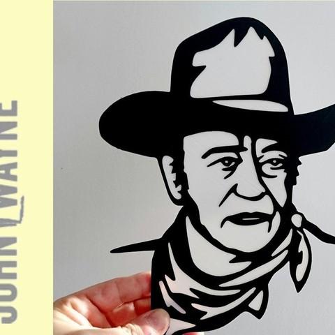 Télécharger plan imprimante 3D gatuit placa John Wayne, 3dlito