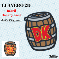 STL Donkey Kong Barrel Key Ring, 3dlito