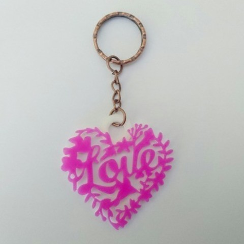 Free 3d printer designs Love key ring, 3dlito