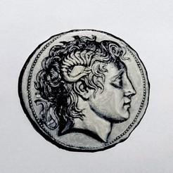 STL gratuit Moneda Alejandro Magno, 3dlito