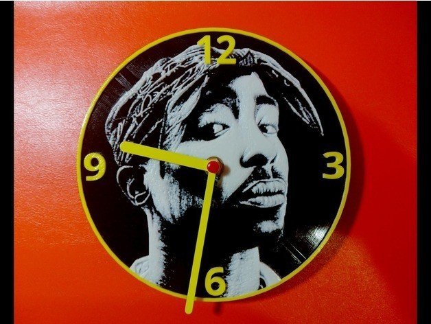 6c03f6f864137b5413bb6dfdaf81f7ec_preview_featured.jpg Download free STL file Tupac Clock • 3D printable template, 3dlito