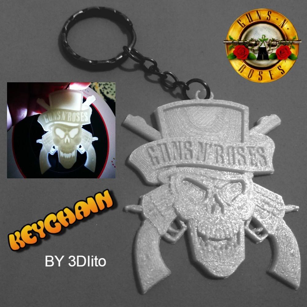 keychain guns.jpg Download free STL file Guns N 'Roses Keychain • 3D printing model, 3dlito