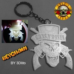 Free 3d printer model Guns N 'Roses Keychain, 3dlito
