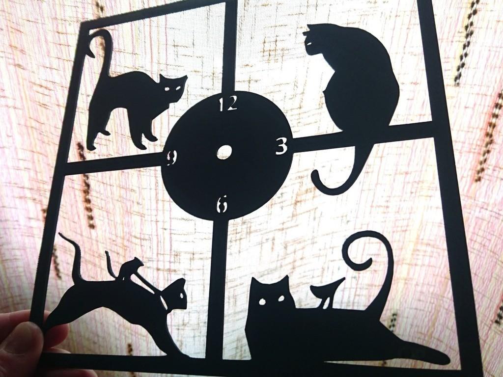 394b234ba6358ba1a2dce3d5a0745c89_display_large.jpg Download free STL file Reloj de pared gatos • 3D printer template, 3dlito